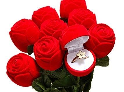 Darčeková krabička na prsteň v tvare ruže