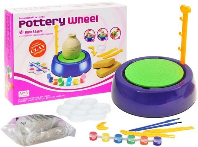 Detský hrnčiarsky kruh+hlina+farby...