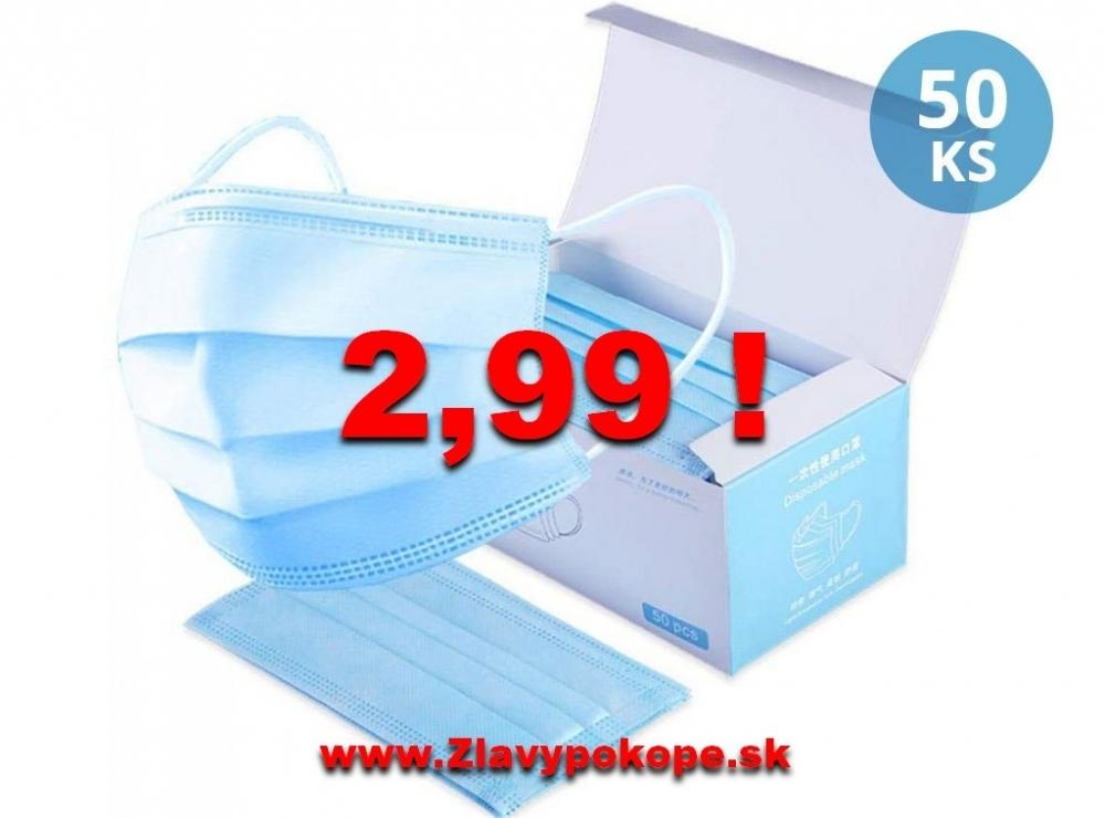 Jednorázové hygienické rúško 3-vrstvové - 50ks