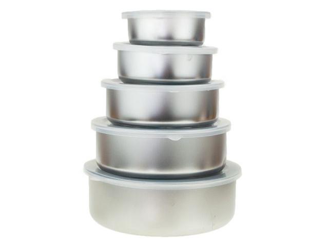 SUPERAKCIA - Sada kovových potravinových nádob s vrchnákmi 5ks