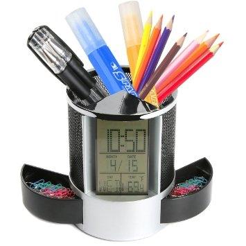 Multifunkčný stojan na písacie potreby s hodinkami, teplomerom...